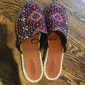 Embroidered Espadrille Mules